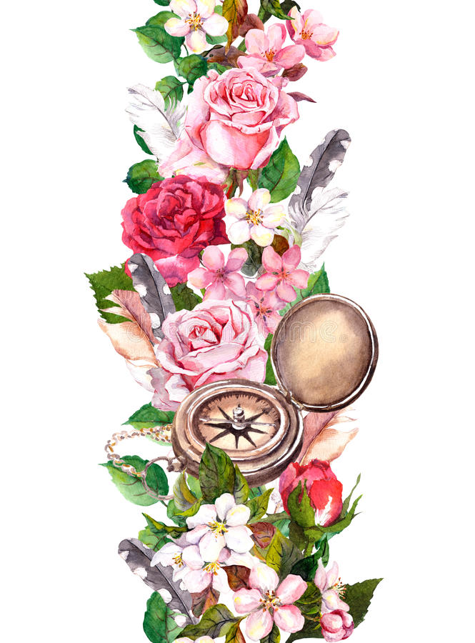 Floral border with flowers, vintage compass. Travel concept. Watercolor seamless frame stock illustration