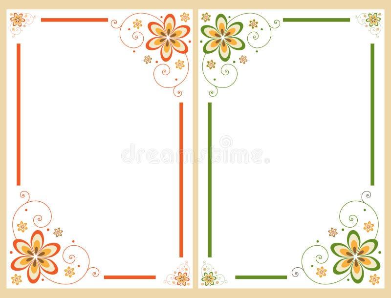 Floral border frame set stock illustration