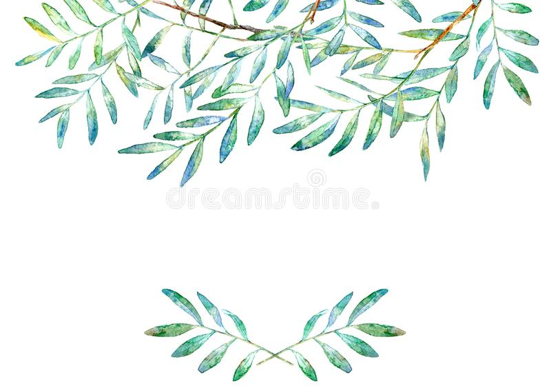 Floral border .Garland of a pistachio branches.Frame of a herbs. Watercolor hand drawn illustration.It can be used for greeting cards, posters, wedding cards stock illustration