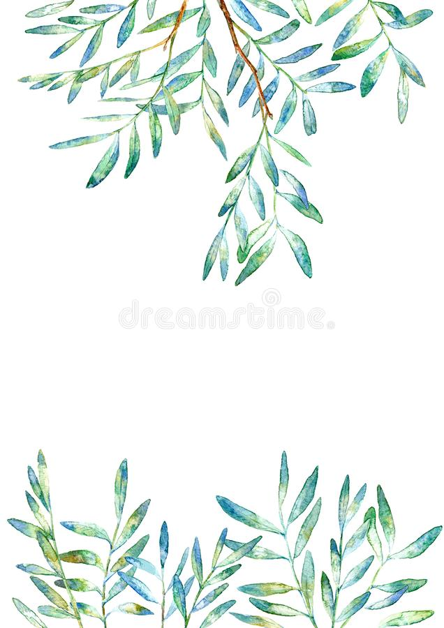 Floral border .Garland of a pistachio branches.Frame of a herbs. Watercolor hand drawn illustration.It can be used for greeting cards, posters, wedding cards royalty free illustration