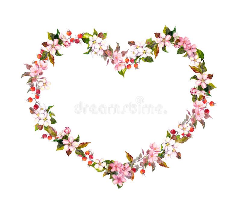 Floral border - heart shape, spring flowers. Watercolor for Valentine day, wedding. Floral border - heart shape with spring flowers. Watercolor for Valentine day stock photos