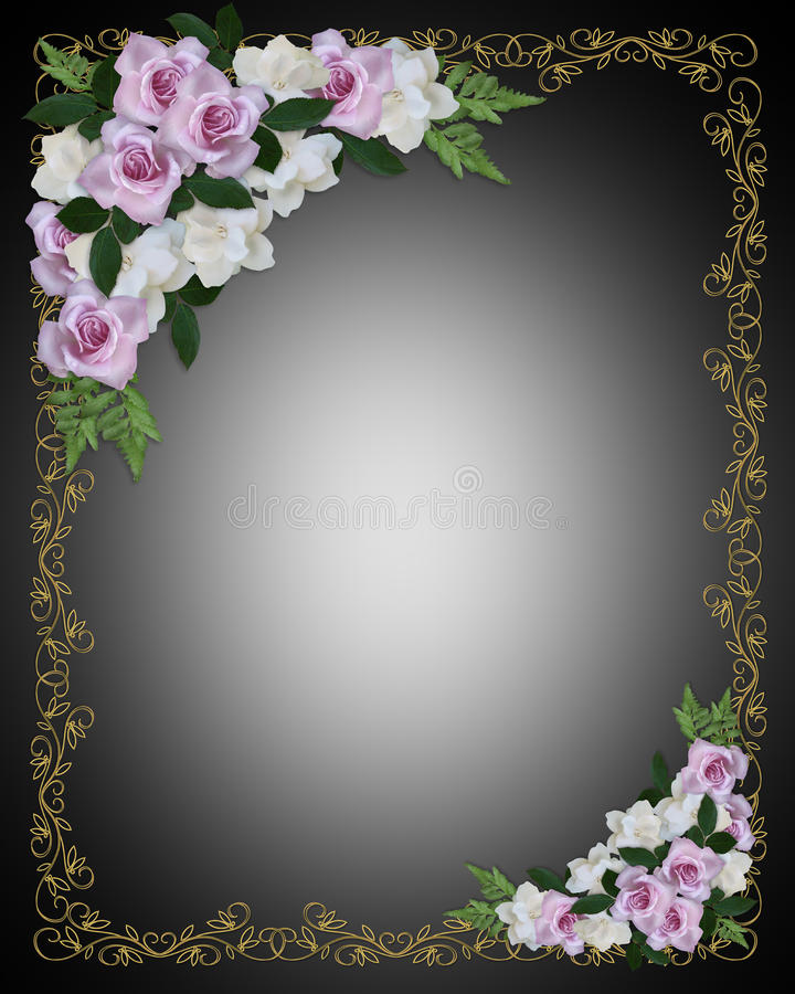 Floral Border Lavender Roses Stock Illustration Image
