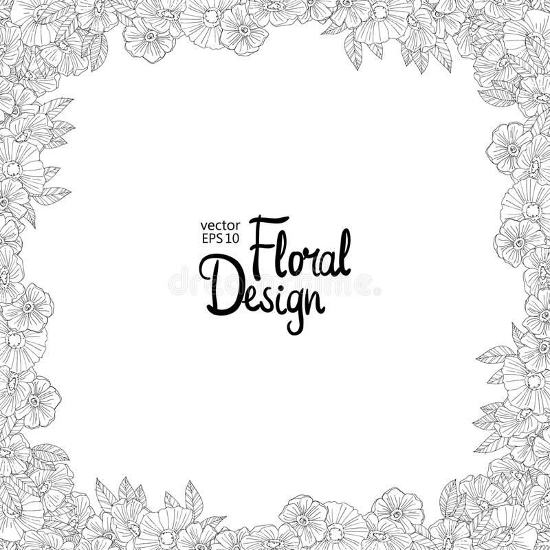 Floral border made with sketchy flowers vector illustration