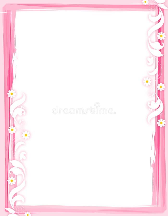 Floral border - pink vector illustration