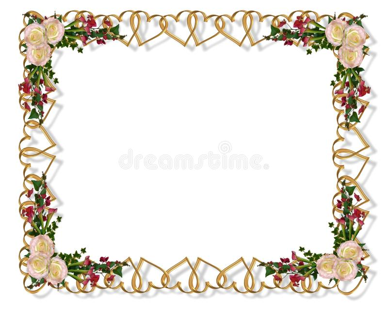 Floral border romantic hearts stock images