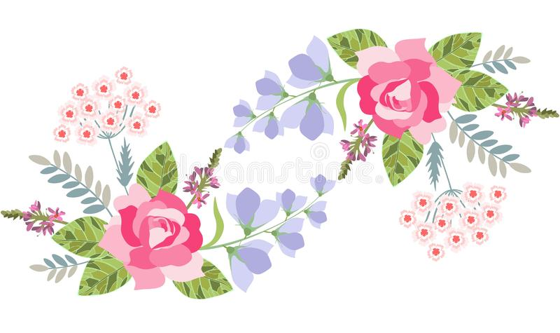 Floral border with rose, bell flower, salvia and turkish carnation isolated on white. Vector illustration.  royalty free illustration