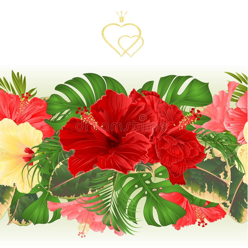 Floral border seamless background with blooming various hibiscus and tropical leaves vector Illustration for use in interior desi royalty free illustration