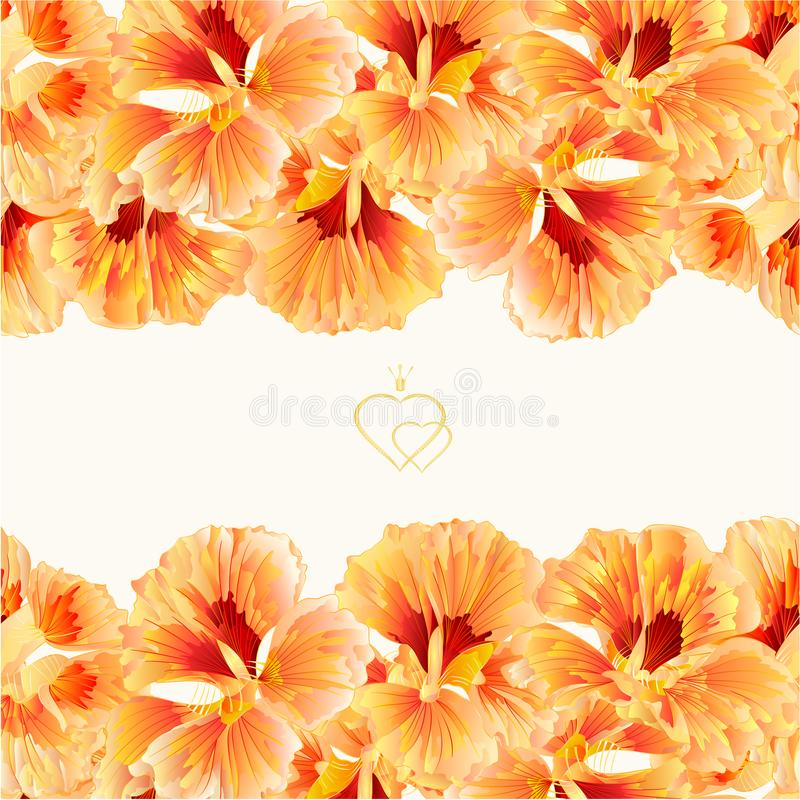Floral border seamless horizontal background Spring flowers watercress vegetable vintage hand draw vector Illustration for use in royalty free illustration