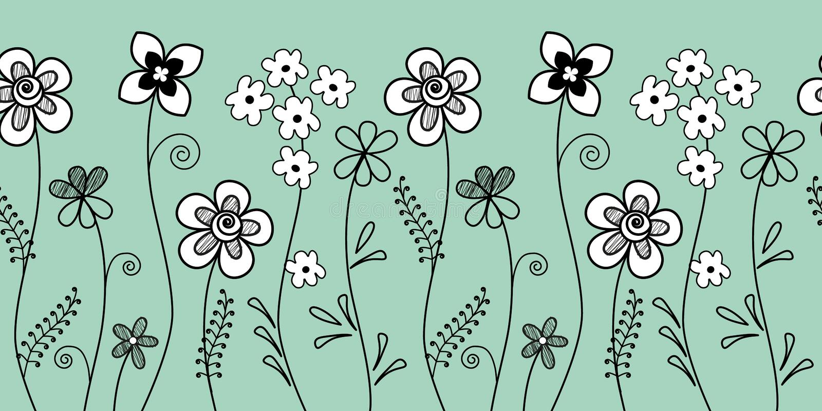 Floral border. Seamless pattern with white and black decorative flowers on a blue background royalty free illustration