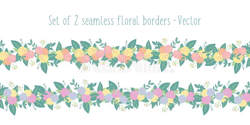 Floral border vector set seamless with stylized flowers. Spring or summer flower garland pink yellow orange blue, green royalty free illustration