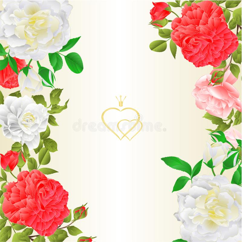 Floral border vertical festive background with blooming roses and buds vintage vector Illustration for use in interior design, vector illustration
