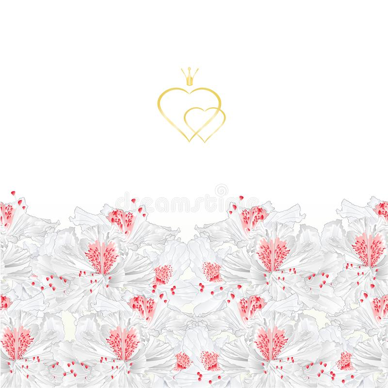 Floral border vertical seamless background with blooming white flowers rhododendrons vector Illustration for use in interior desi vector illustration