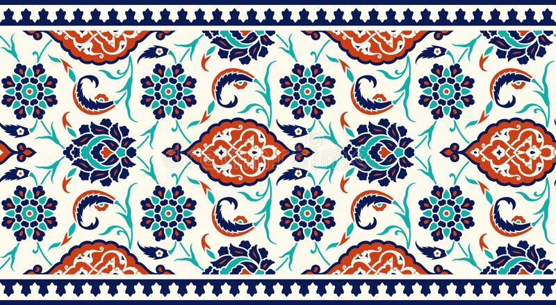 Floral border for your design. Traditional Turkish � Ottoman seamless ornament. Iznik. royalty free illustration