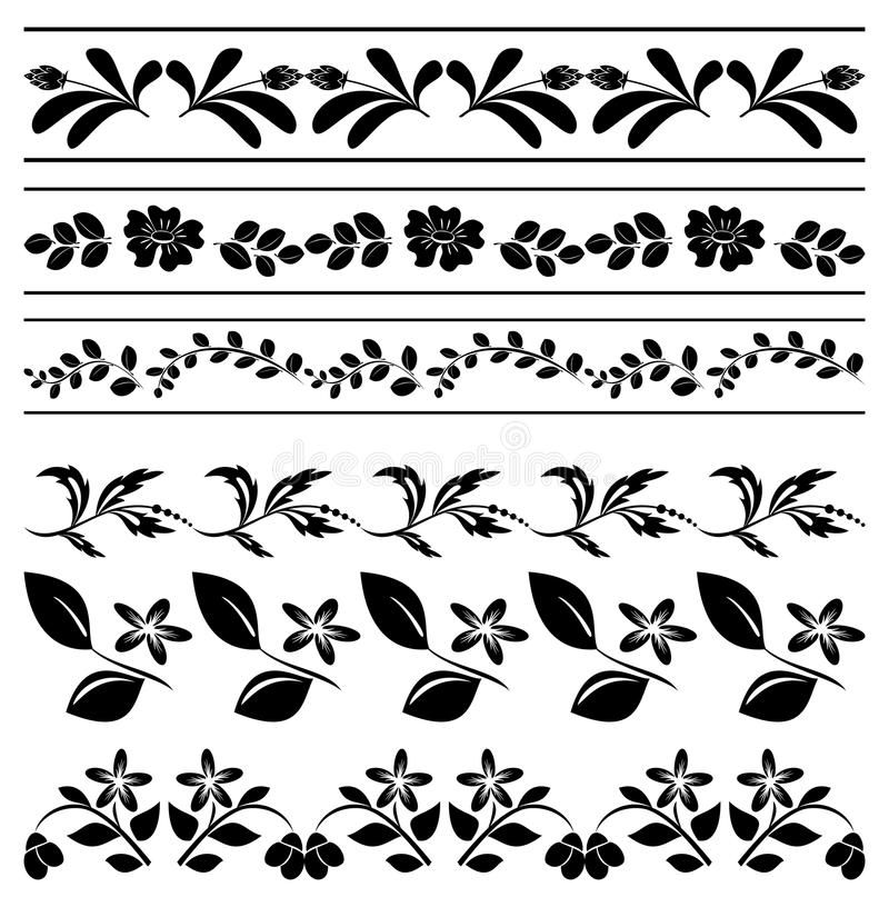 Decorative Black Flower Border Stock Image: Vector Stock Vector