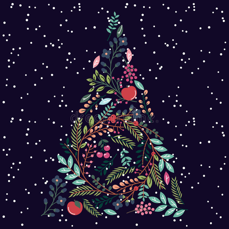 Floral or Botanical Christmas Tree royalty free illustration