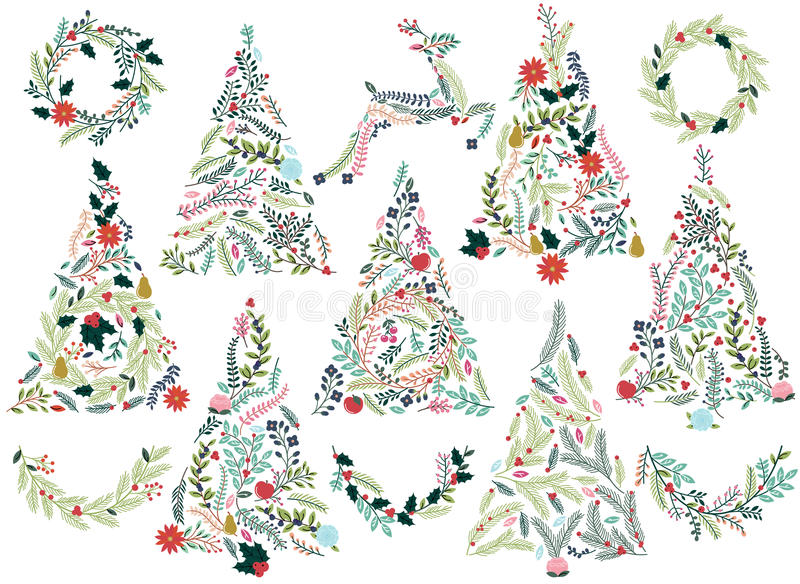 Floral or Botanical Christmas Trees. Wreaths, Bunting and Reindeer stock illustration
