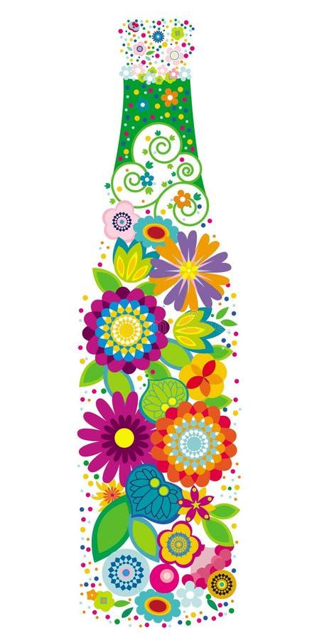 Floral bottle royalty free illustration