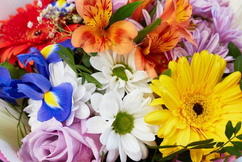 Floral bouquet of colorful bright flower. floristic arrangement closeup royalty free stock photos