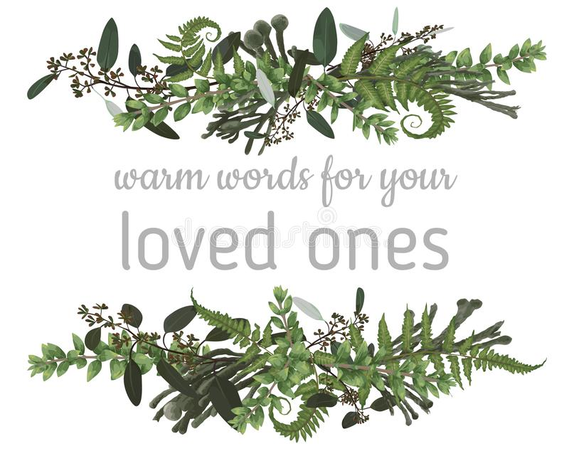 Floral bouquet design set, green forest leaf, fern, branches boxwood, buxu, brunia, eucalyptus. Watercolor style, herbs. Horizontal wedding for invite card vector illustration