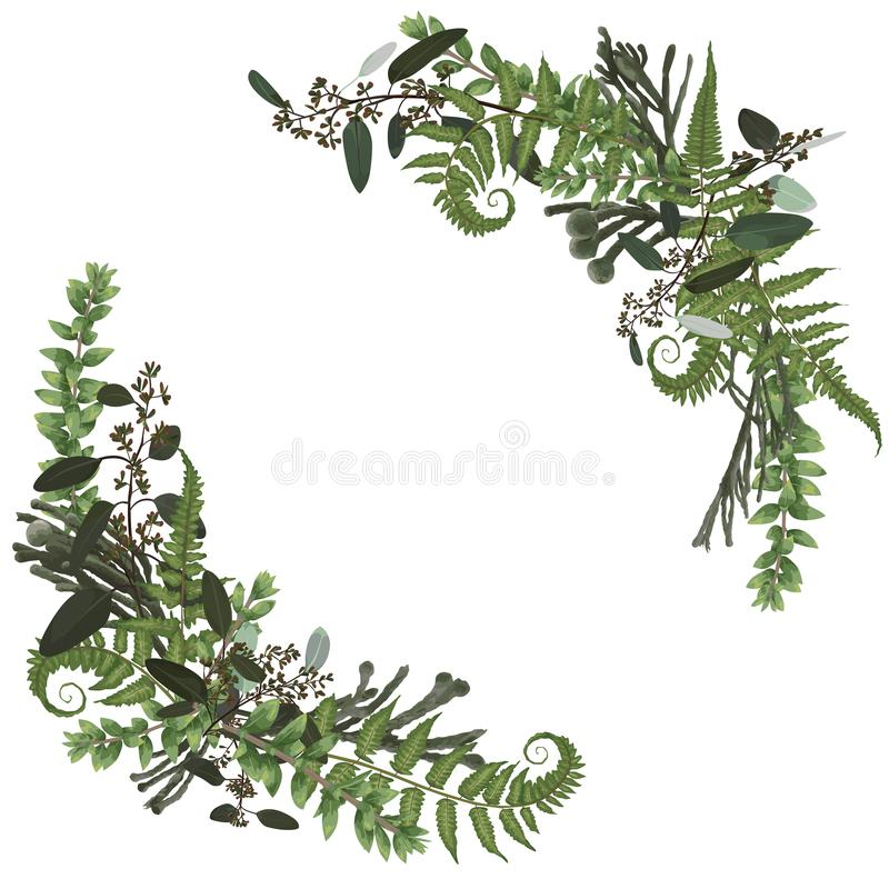 Floral bouquet design set, green forest leaf, fern, branches boxwood, buxu, brunia, eucalyptus. Watercolor style, herbs. Wedding. For invite card Isolated royalty free illustration
