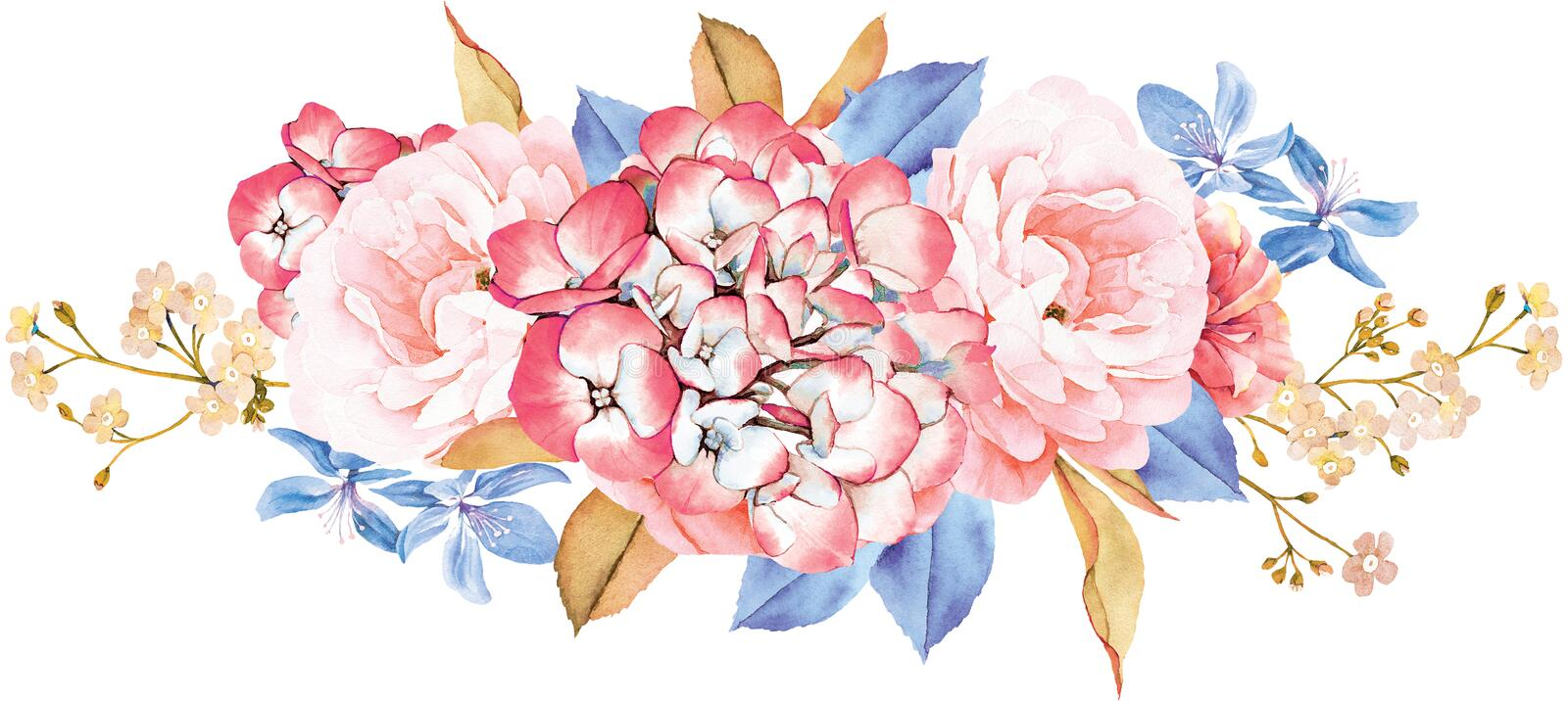 Floral bouquet made of roses, blue leaves, branches on white stock illustration