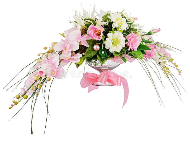 Floral bouquet of roses and orchids arrangement centerpiece isolated on white background. Closeup royalty free stock images