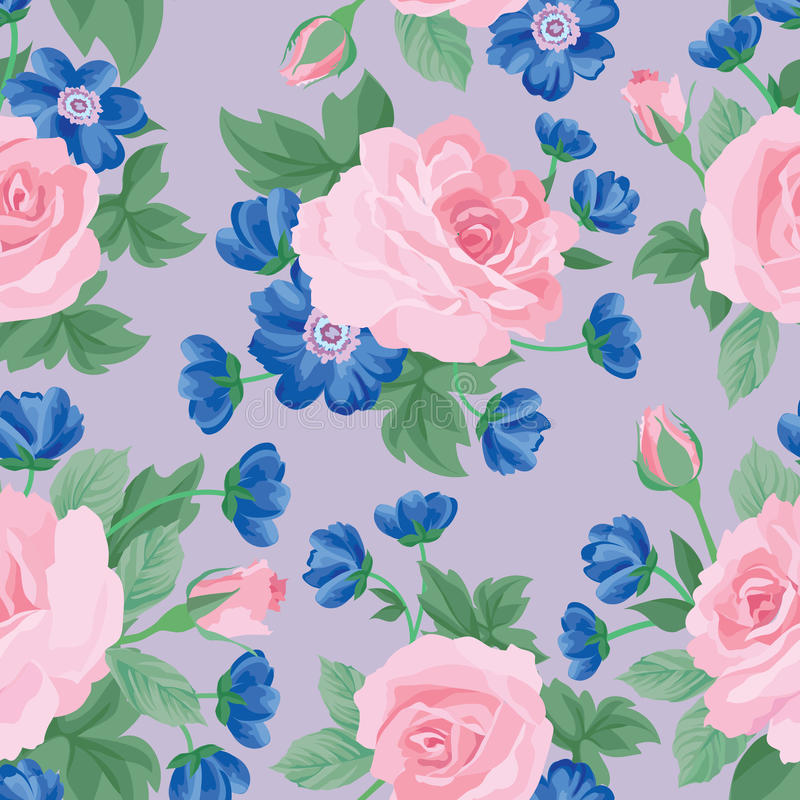 Floral bouquet seamless pattern. Flower rose background. stock illustration