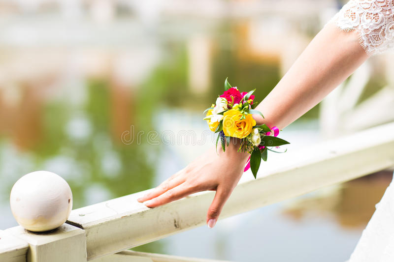 Floral bracelet for the bride royalty free stock photography