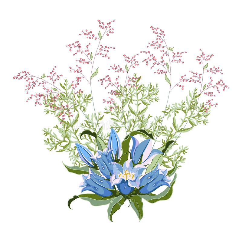 Floral bunch of hand drawn wildflowers bluebell and blooming wormwood. Composition for design on white background. Vector illustration vector illustration