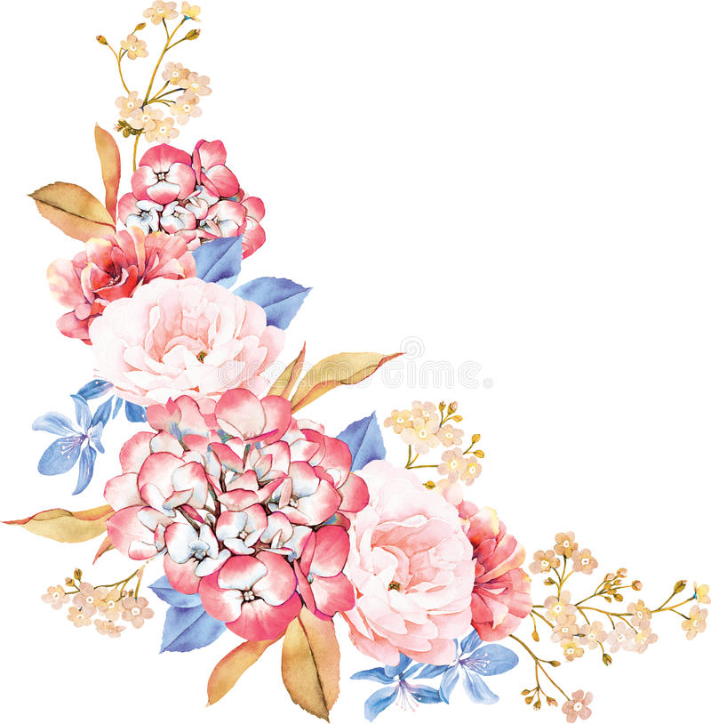 Floral bunch of roses, blue leaves, branches on white background royalty free illustration