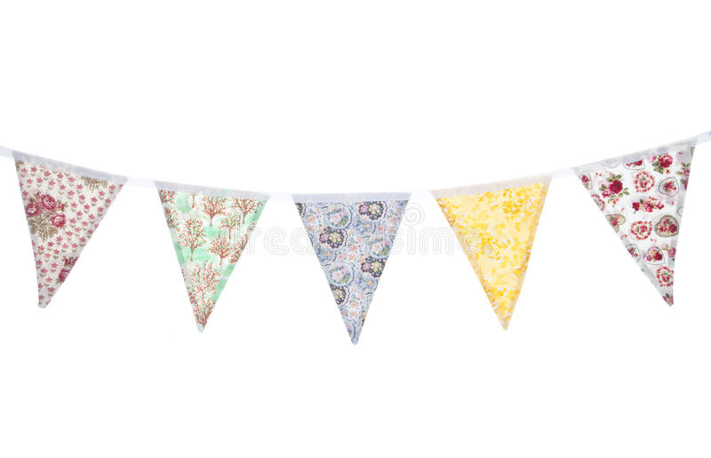Floral bunting. Vintage floral bunting studio cutout stock photography