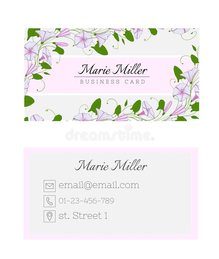 Floral business card template. Elegant feminine design with flowers binweed and convolvulus. Pastel color vector illustration