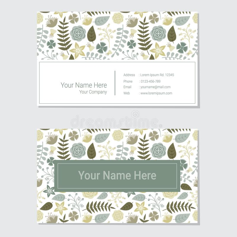 Blue and yellow flower background business card stock illustration