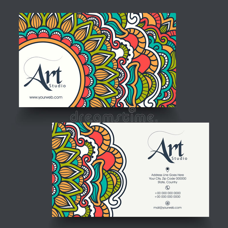 Floral Business Card Or Visiting Card. Stock Illustration ...