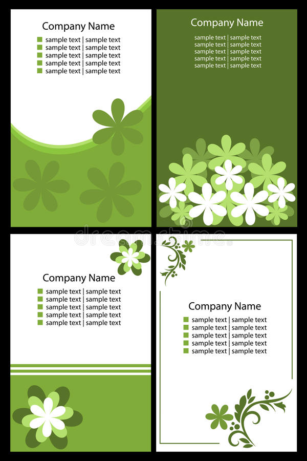Floral business cards - green stock image