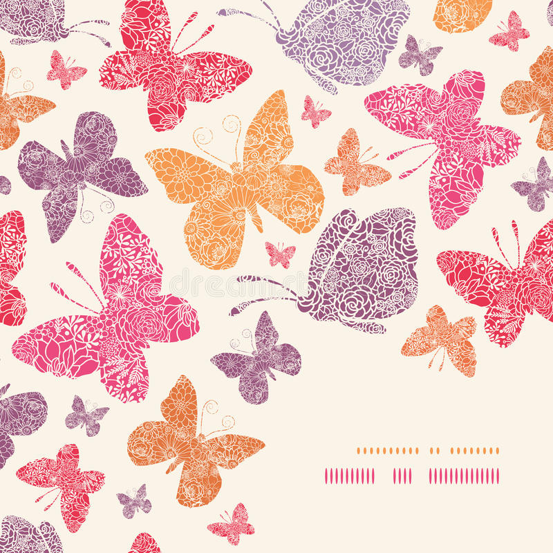 Floral butterflies corner decor pattern background stock illustration