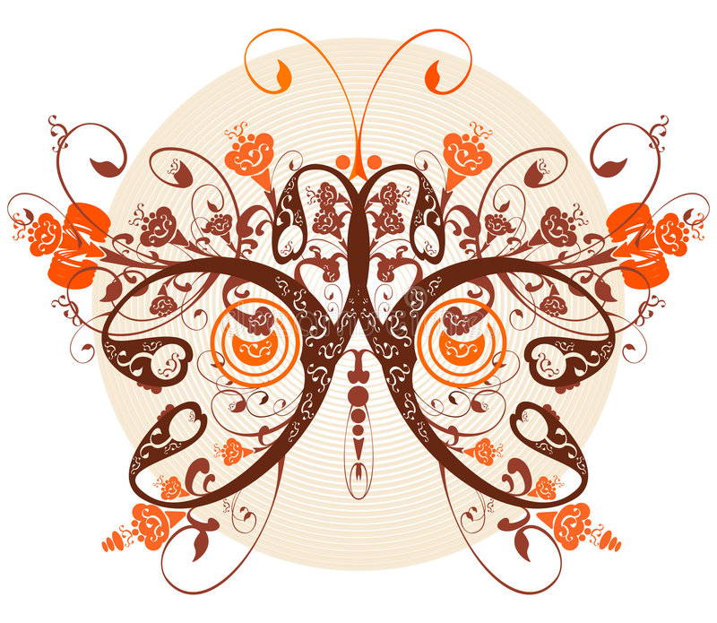 Floral butterfly vector illustration