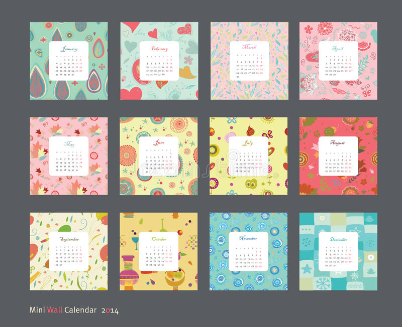 Floral calendar 2014 stock illustration