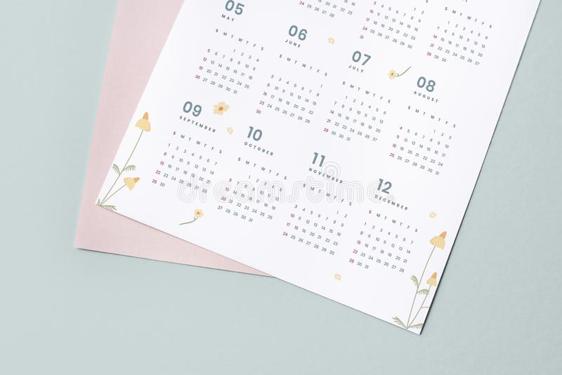 Floral calendar template mockup with design space stock images