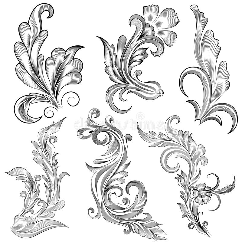 Floral Calligraphic Design Royalty Free Stock Photo