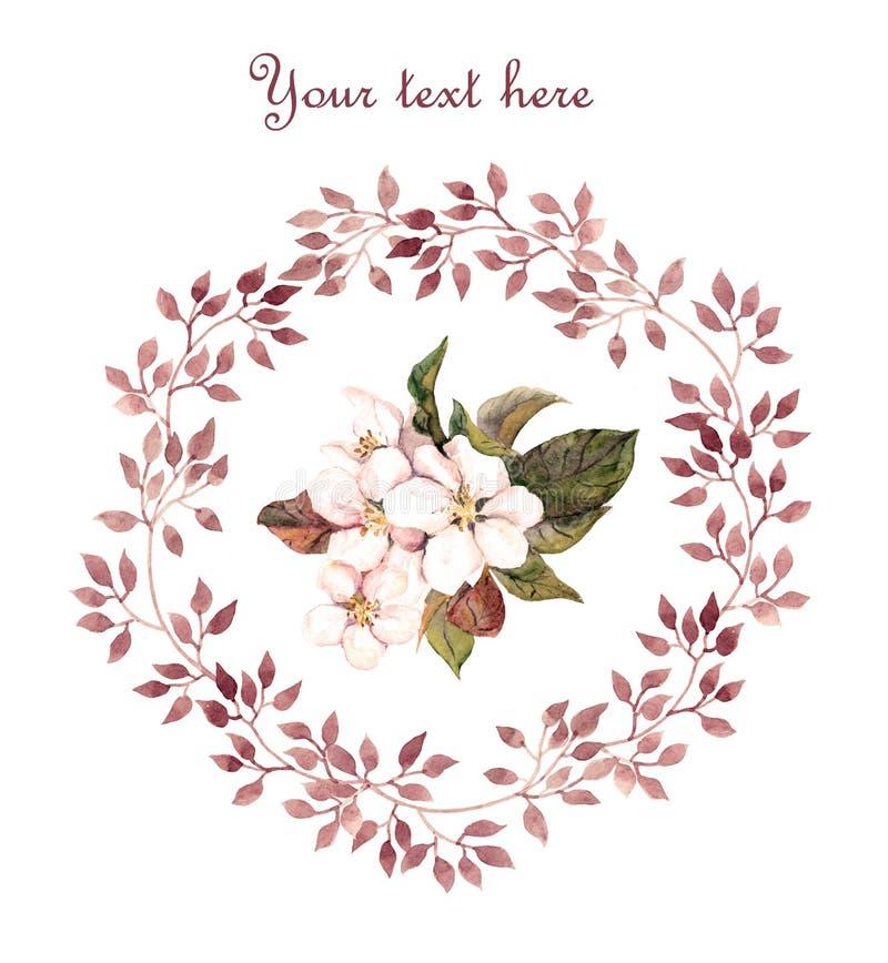 Floral card - apple flower in leaves wreath. Aquarelle painted. Vintage design vector illustration