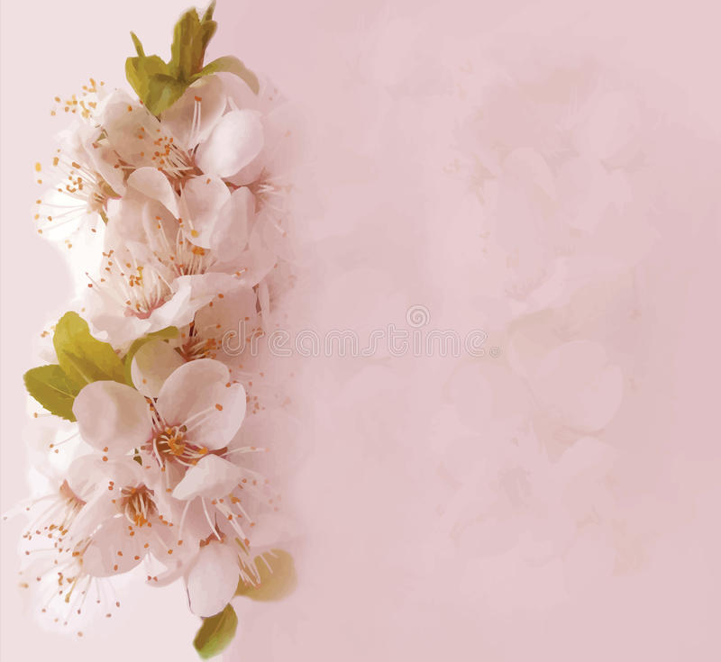 Floral card with blossom cherry. On grunge stained hazy background in pastel colors vector illustration