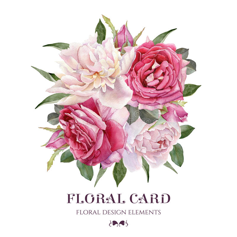 Floral card. Bouquet of watercolor roses and white peonies. royalty free illustration