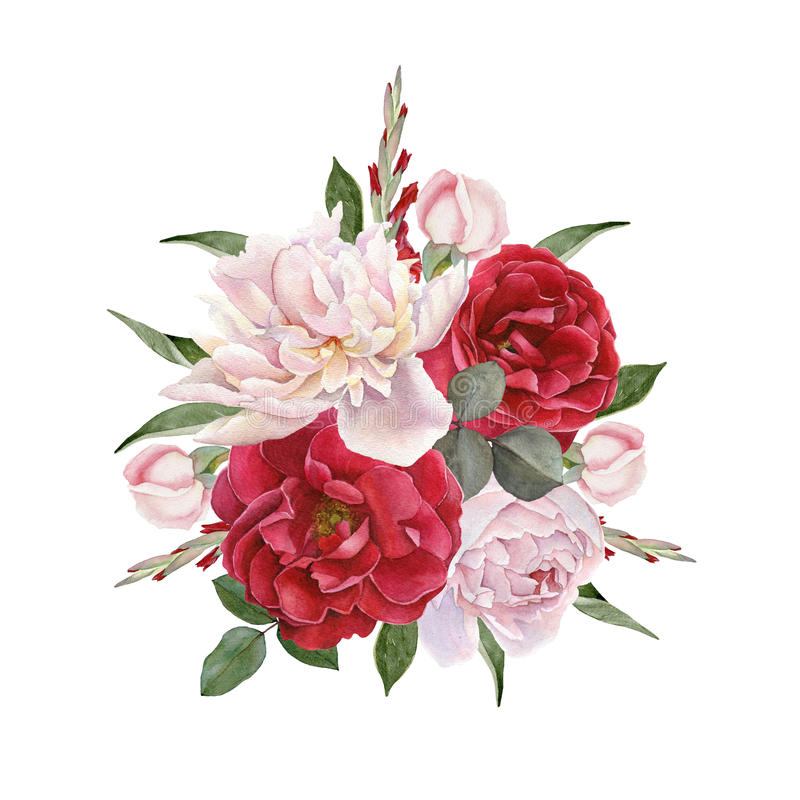 Floral card. Bouquet of watercolor roses and white peonies. stock illustration