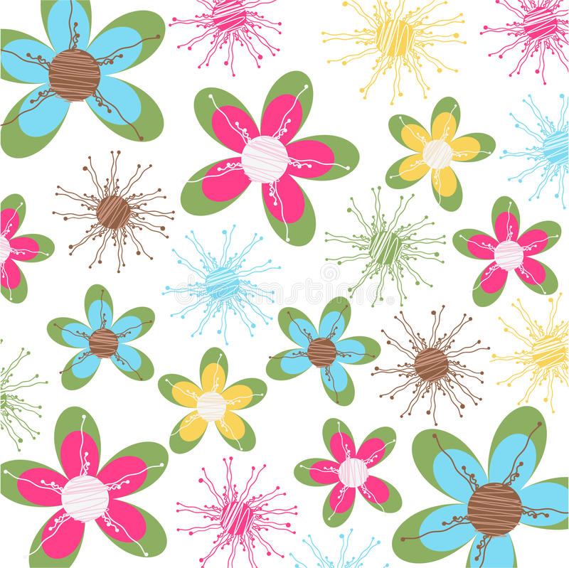 Floral card, fabric texture vector illustration