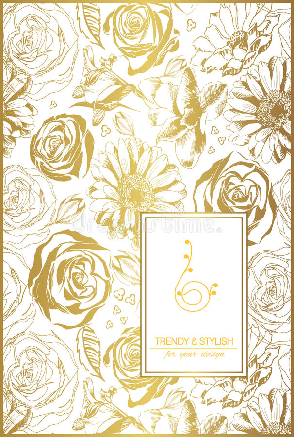 Floral card on gold with lace ornament and place for text. royalty free illustration