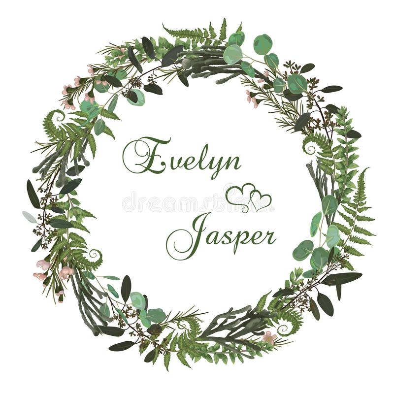 Floral card with leaves eucalyptus, brunia, fern and boxwood. Greenery round frame. Rustic style. For wedding, birthday, party,. Save the date. Vector stock illustration