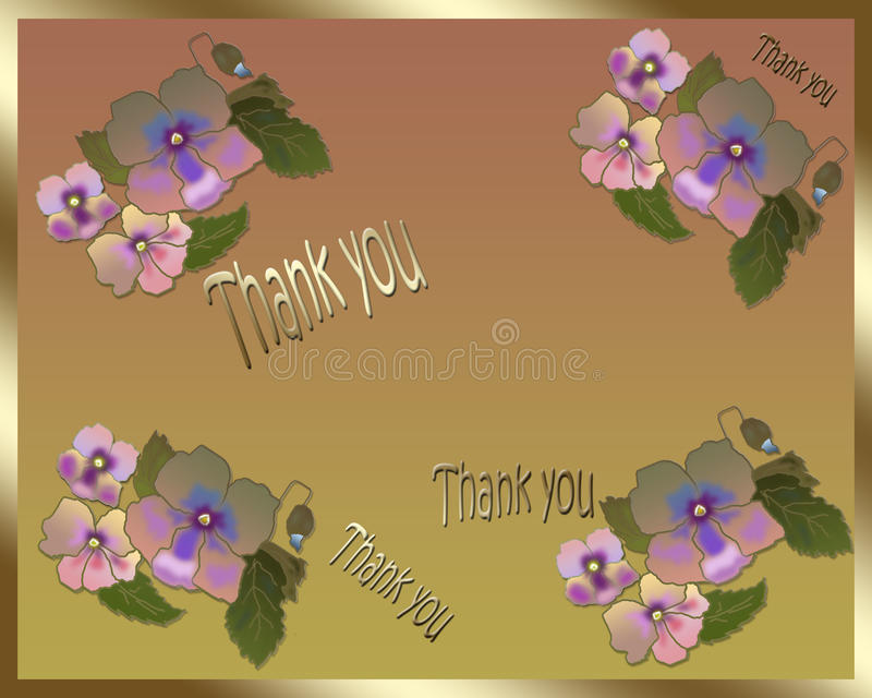 Floral card Thank you. Floral card with beautiful pansy flowers Thank you vector illustration