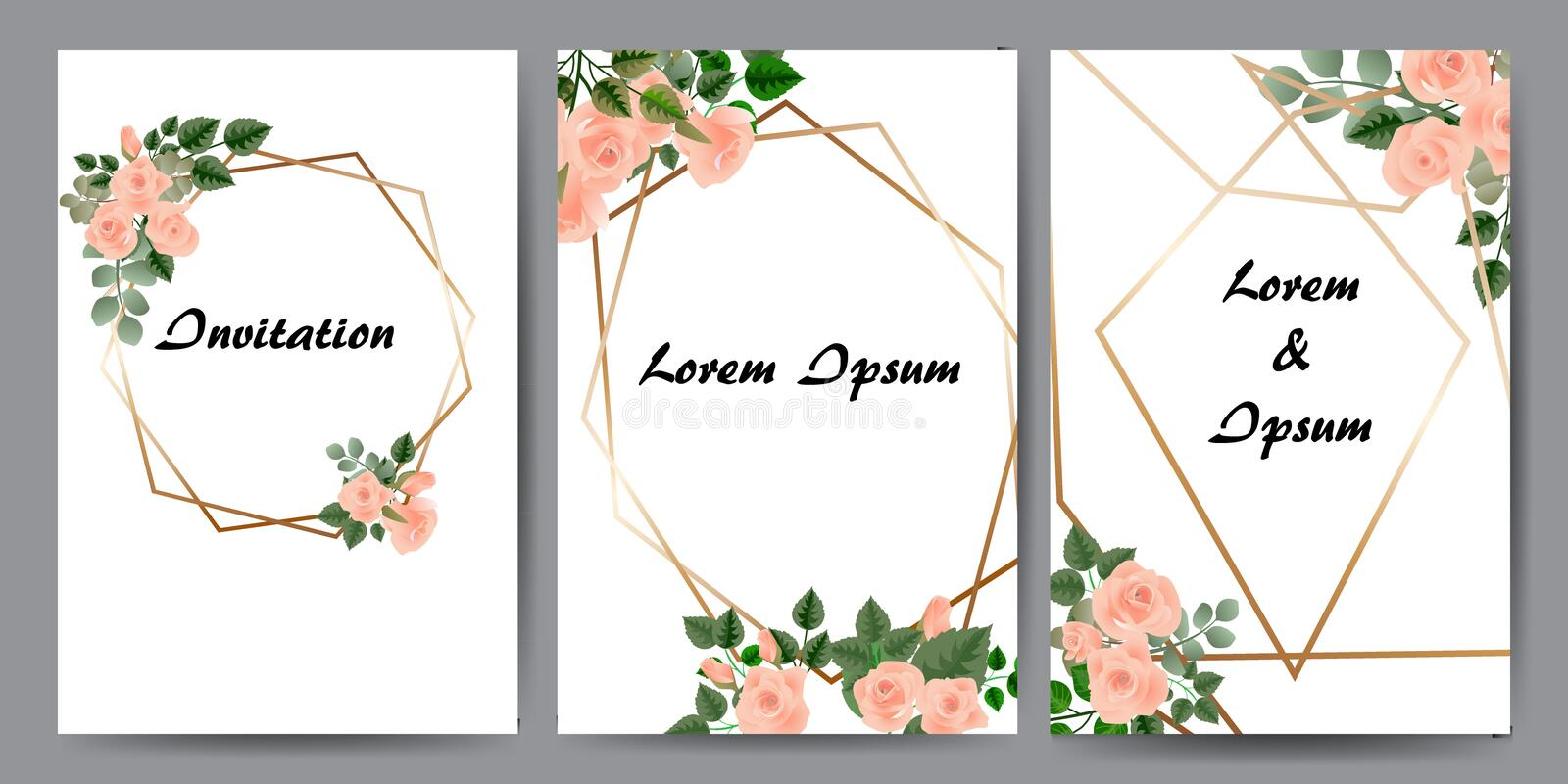 Floral cards for invitation. Set - vector stock. royalty free illustration