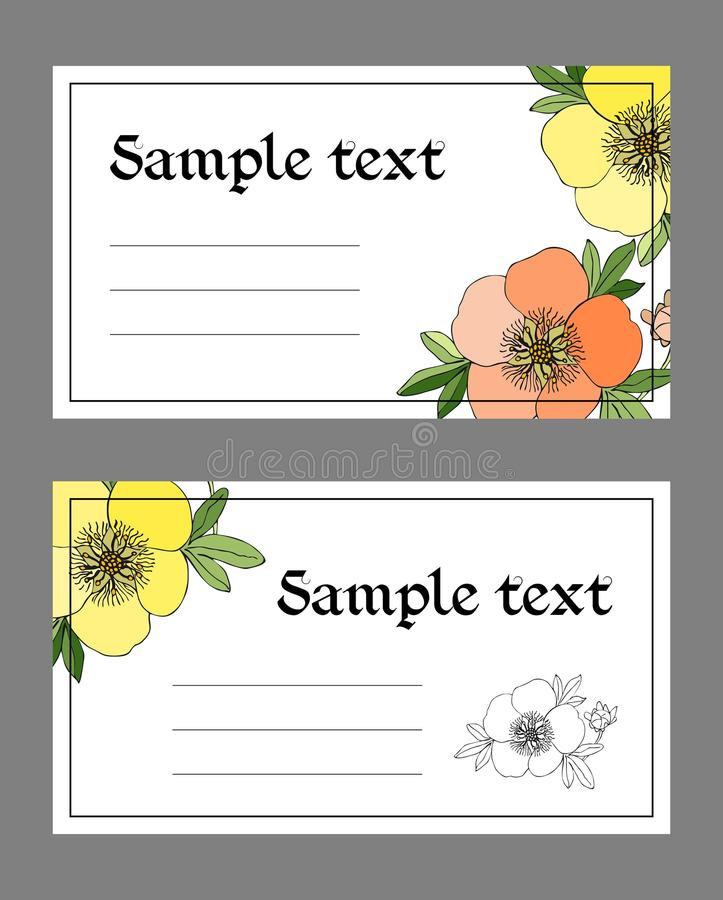 Floral cards with place for text. Hand drawn cinquefoil flowers. stock illustration